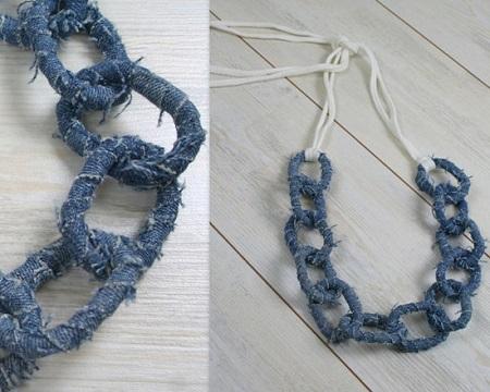 джинсовая бижутерия - Украшения на шею из джинсы