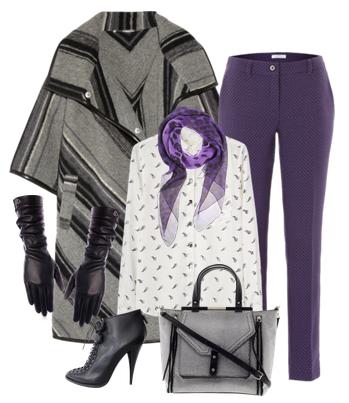 Осенние сеты с серым пальто блузкой и фиолетовыми брюками на учебу и для офиса