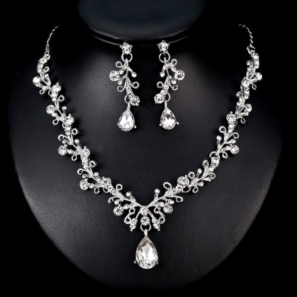 TREAZY Silver Plated Luxury Crystal Bridal Jewelry Sets Leaf Waterdrop Rhinestone Necklace Earrings Prom Wedding Jewelry