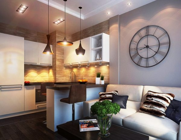 зонирование кухни и гостино