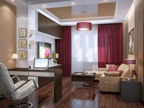 гостиная с рабочим местом