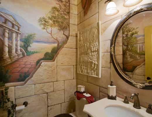как создать дизайн ванной комнаты с обоями