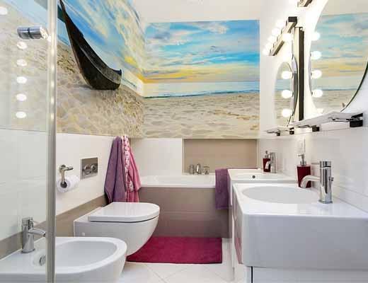 виниловые обои с фотопечатью для ванной комнаты
