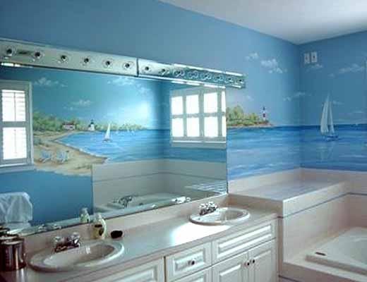 как визуально расширить ванную комнату с помощью обоев