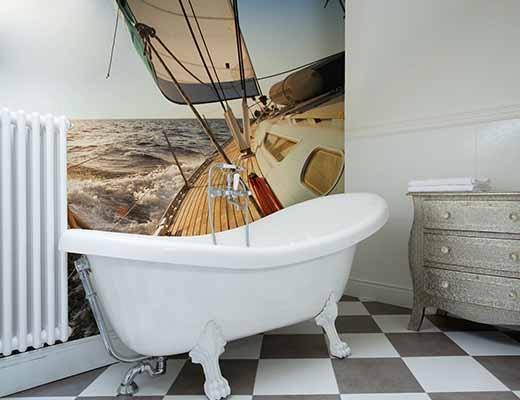 моющиеся фотообои в интерьере ванной