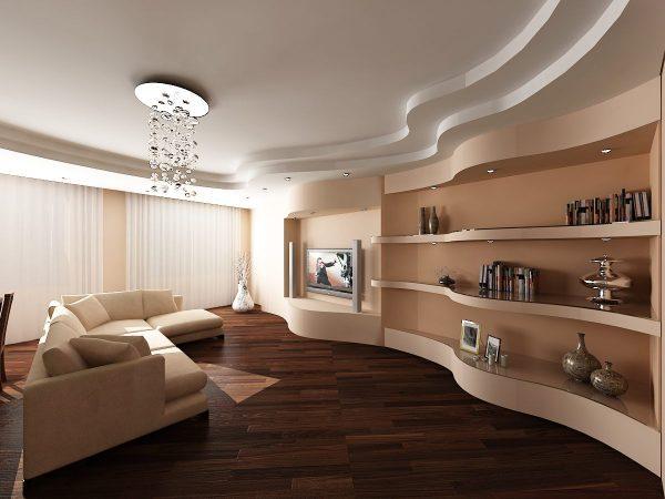 Потолок: отдать предпочтение гипсокартонному, натяжному или просто покрасить