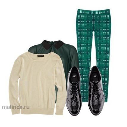 брюки с принтом в модном образе в стиле преппи