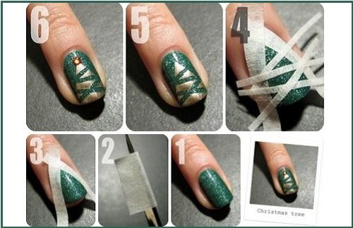 Идеи новогоднего маникюра - елка на ногтях