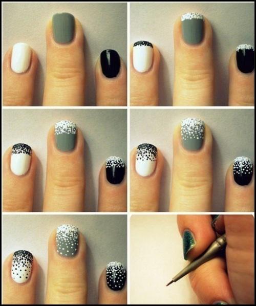 Идеи новогоднего маникюра - точки лаком на ногтях