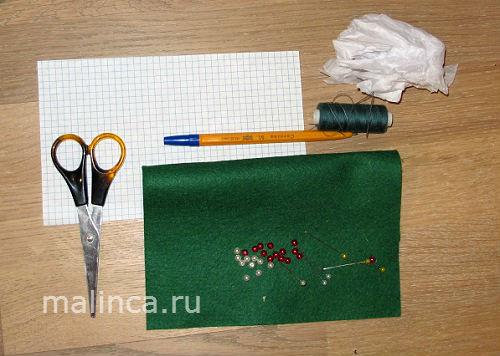 как сделать Елочные игрушки из фетра мастер класс