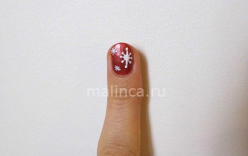 Мастер класс как нарисовать снежинки на ногтях