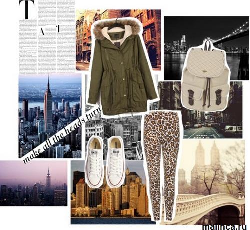 Леопардовые леггинсы с чем носить