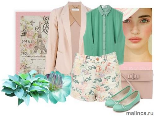 шорты цветочный принт, зеленые балетки и пиджак