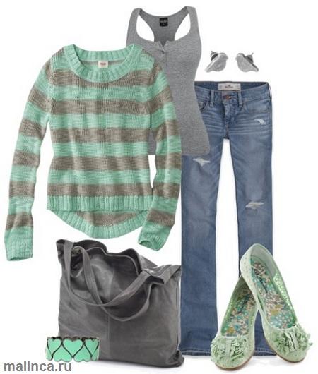 повседневный образ полосатый свитер, джинсы и зеленые балетки