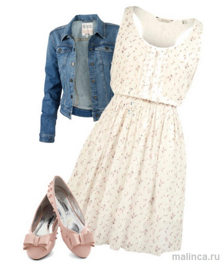 сеты одежды - платье в цветочек джинсовая куртка и светло розовые балетки