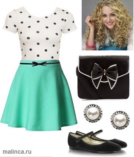 белый топ в черный горох зеленая юбка клеш и балетки - сеты одежды