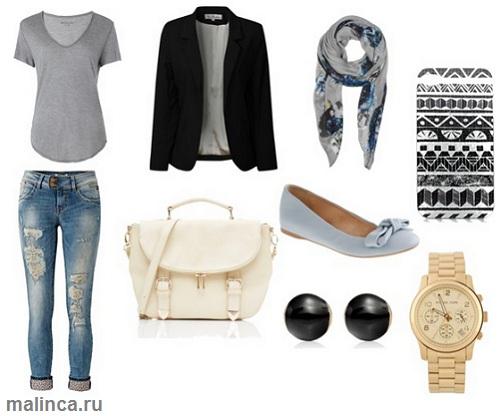 сеты одежды с серыми балетками и черным пиджаком