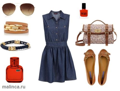 сеты одежды на каждый день - джинсовое платье и коричневые балетки