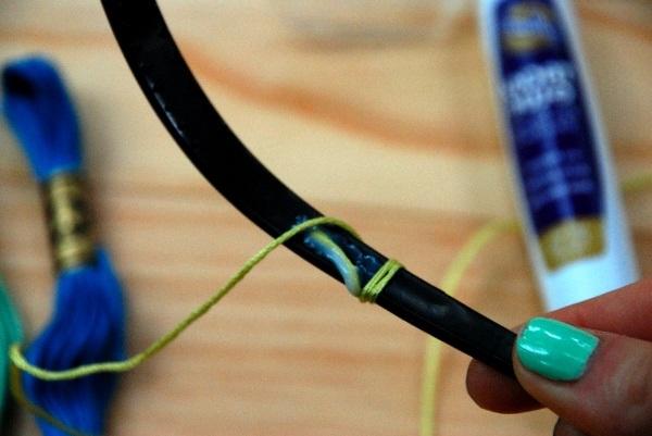 Как сделать красивый ободок из ниток мулине - своими руками