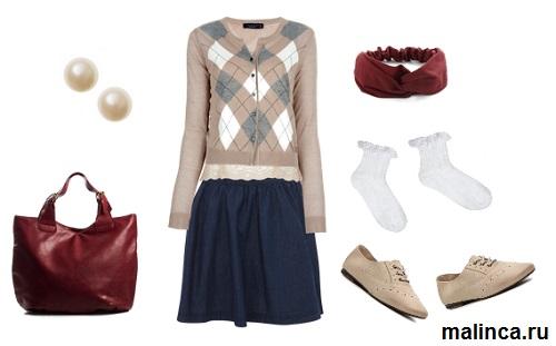 бежевые оксфорды в стиле преппи - синяя юбка и кардиган в ромбик сеты одежды