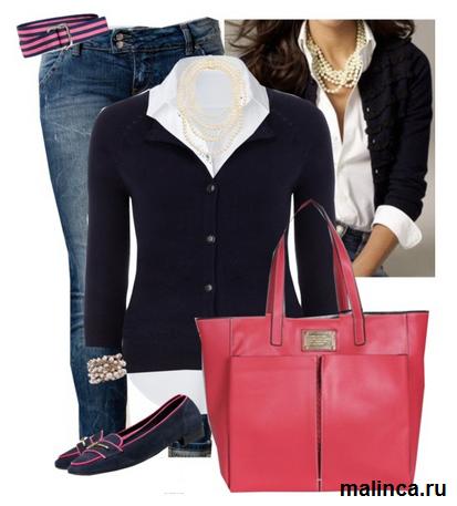 сеты в стиле преппи: лоферы кардиган и ярко розовая сумка
