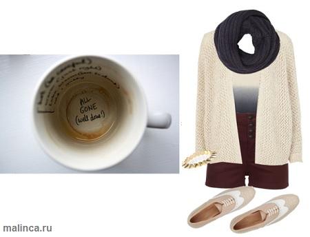 сеты одежды с лоферами и вязанным кардиганом