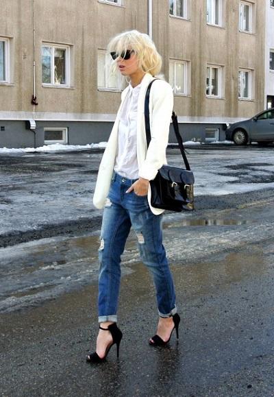 С чем носить белый пиджак фото