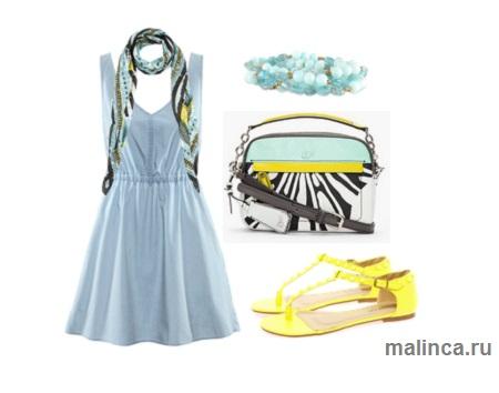 Как сочетать платье из денима с яркими аксессуарами - сет одежды