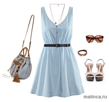 Летние сеты одежды с джинсовым платьем