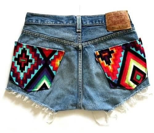 Декор джинсовых шорт своими руками фото