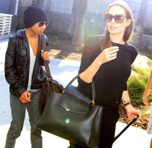 """Анджелина Джоли с новой сумкой Луи Вьюттон Louis Vuitton """"Capucines Bag"""""""