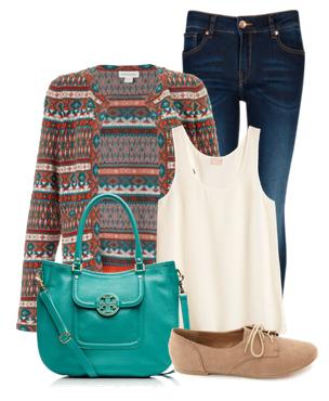 Сеты одежды с ярким кардиганом джинсами и зеленой сумкой