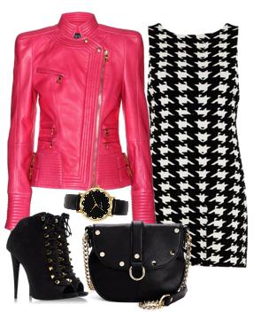 Осенние сеты 201 с платьем с гусиной лапкой и яркой розовой курткой