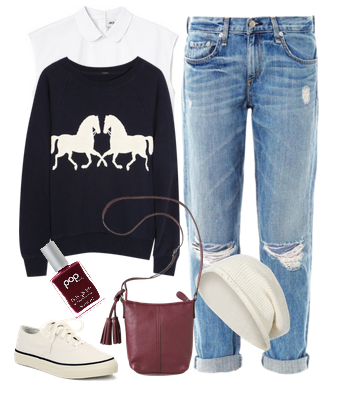 Образ со свитером кедами и джинсами бойфрендами