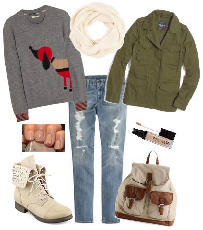 Модные сеты одежды осень 2014 - с джинсами бойфрендами и свитером