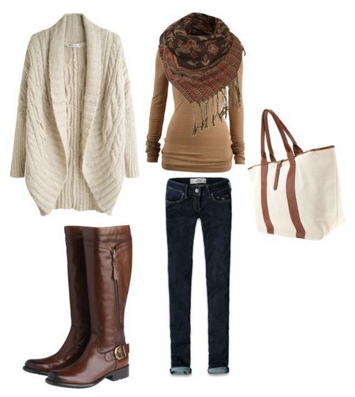 Модные сеты одежды на осень с бежевым кардиганом и сапогами