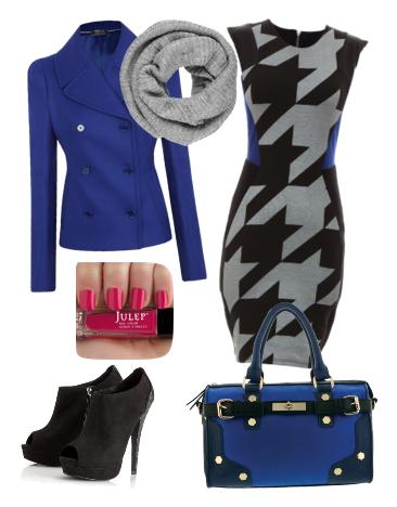Модные луки на осень с теплым платьем в гусиную лапку и синим пиджаком
