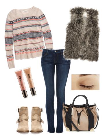 Модные луки осень 2014 - со свитером и меховой жилеткой