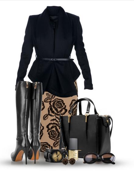 Сеты одежды на осень 2014 с юбкой карандаш сапогами и коротким пальто