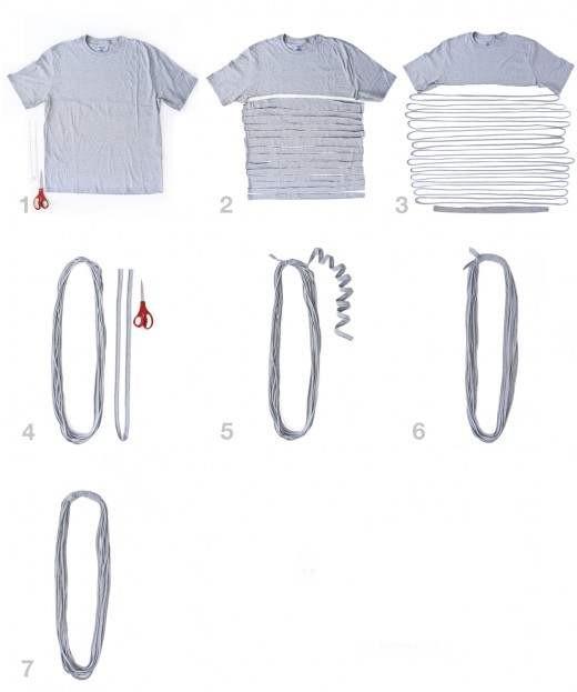 Шарфы из футболки своими руками (фото, видео)