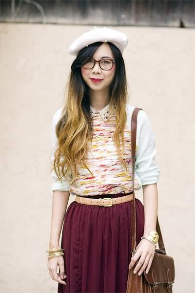 Модный вишневый цвет в одежде фото