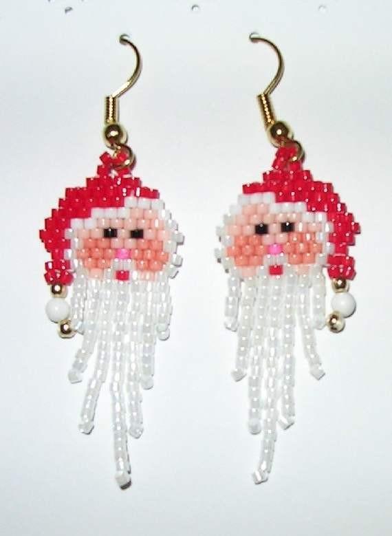 Серьги из бисера Дед Мороз - Санта Клаус