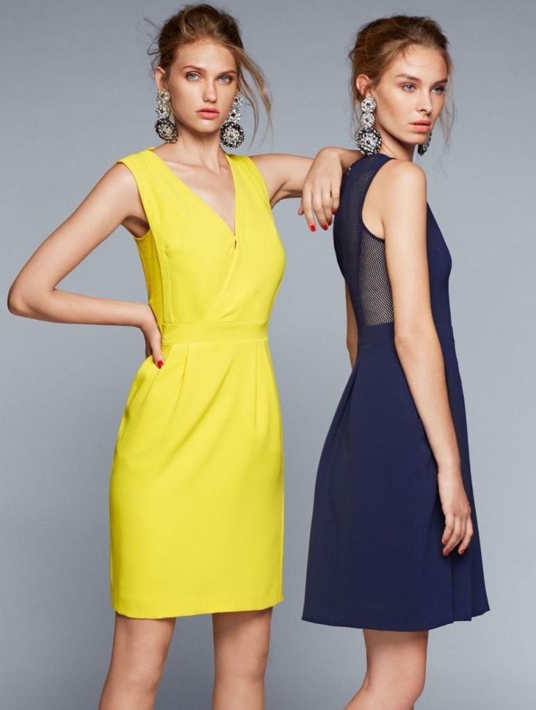 Caractere Коктейльные платья желтого и синего цветов