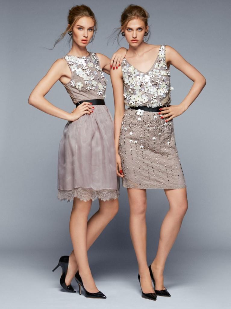 Caractere бежевые платья с пайеткаи