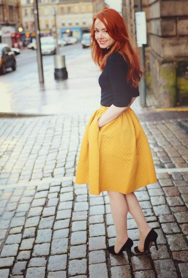 Темно-желтая юбка колокол