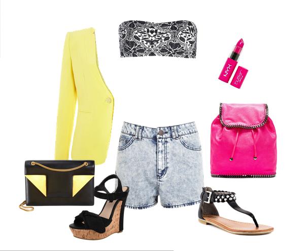 летние сеты одежды с джинсовыми шортами 2014
