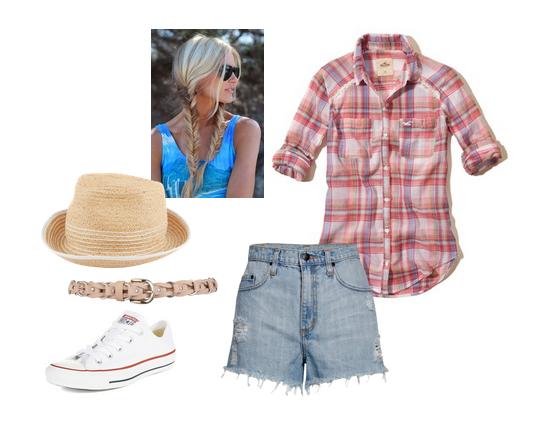 летние сеты одежды с клетчатой рубашкой и соломенной шляпой