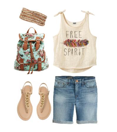 Сеты одежды 2014 на лето с джинсовыми шортами, свободной байкой и рюкзаком
