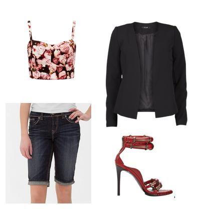 Сеты одежды 2014 на лето с джинсовыми шортами до колена, пиджаком и босоножками на каблуках