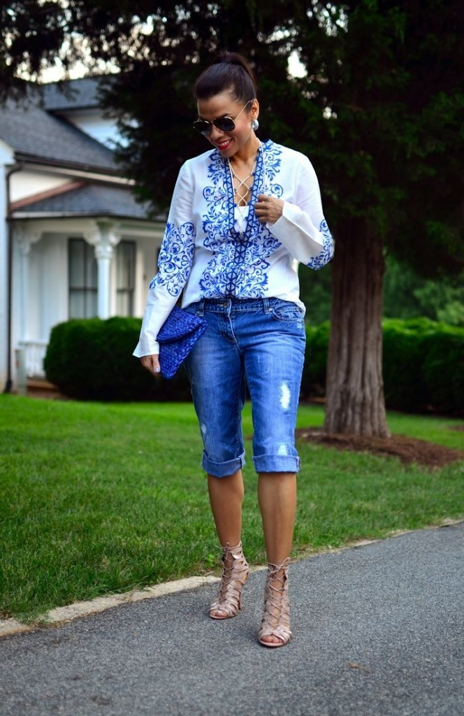 как носить джинсовые бермуды